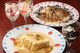 焼リンゴ・バナナアイスクリーム、杏仁豆腐、パンナコッタ、エスプレッソコーヒーゼリー