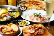 タパスからアヒージョ、パエリアまで 豊富なスペイン料理が楽しめる☆