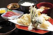 天ぷら定食(上) 1,700円 *(並) 1,100円もあり