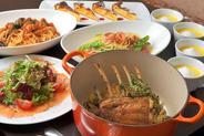 大皿パーティーコース(3名~・要予約) 料理7品+2時間飲み放題(L.O.30分前)で1人様3,900円~