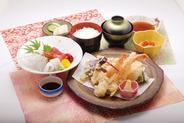 「天ぷら刺身定食」