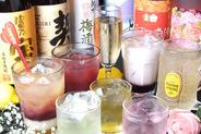 ドリンクも豊富だよ♪ 生ビール・ノンアルコールビール・ハイボール・焼酎・日本酒・ワイン・カクテル・酎ハイ・梅酒・ソフトドリンク種類豊富です。