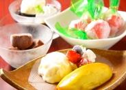 「スイートポテトバニラアイス添え」 「コーヒーゼリーバニラアイス添え」 「練乳いちご」「アイスde生チョコ」