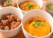 """""""岡崎おうはん""""卵&地鶏肉専門店ならではの丼もの(各800円~) 「親子deうふ」「唐揚げまぶしめし」「鶏親子そぼろ丼」全てにスープ、小鉢が付きます"""