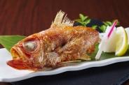 本日の鮮魚の原始焼(520円) 遠赤外線効果で外はパリッと香ばしく、中はふっくらジューシーに。東京で今人気の原始焼を是非!