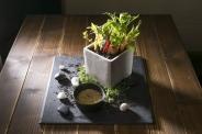スクウェア・ファームのバーニャカウダ/¥1080 こだわりの野菜を、小さな畑から収穫してお召し上がり下さい。
